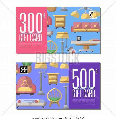 Gift card set for living room furniture. Stylish home space interior renovation certificate, modern apartment decoration discount voucher. Bed, sofa, armchair, lamp, bedside table vector illustration