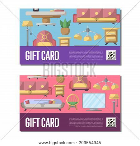 Gift voucher set for living room decoration. Stylish home space interior renovation certificate, modern apartment decor discount card. Bed, sofa, armchair, lamp, bedside table vector illustration
