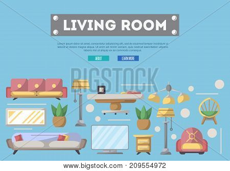 Living room design poster. Stylish and cozy home space, interior renovation and modern apartment decoration. Bed, sofa, armchair, hanging lamp, bedside table, lcd tv, coffee table vector illustration