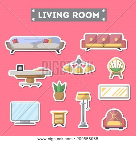 Living room furniture icon set. Home interior design, modern apartment decoration isolated elements. Bed, sofa, armchair, hanging lamp, bedside table, lcd tv, coffee table vector illustration.