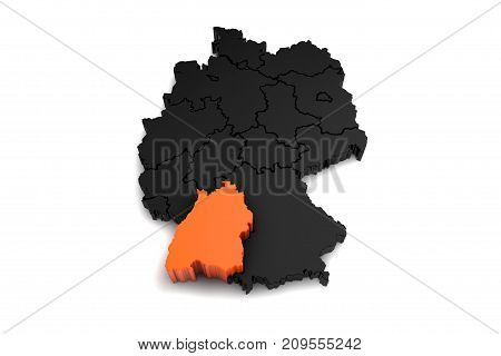 black germany map, with Baden-Wurttemberg region, highlighted in orange.3d render