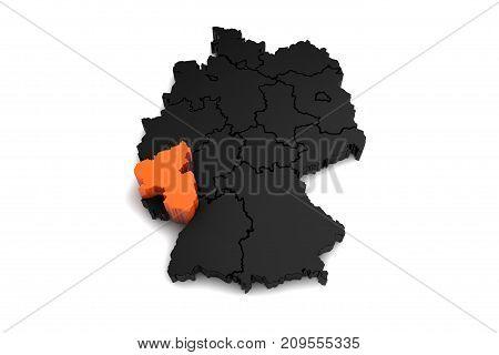 black germany map, with Rheinland-pfalz region, highlighted in orange.3d render