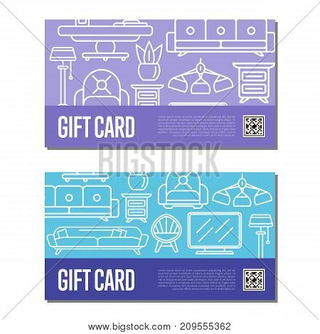Gift voucher linear set for living room decoration. Stylish home space interior renovation certificate, apartment decor discount card. Bed, sofa, armchair, lamp, bedside table vector illustration