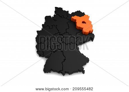 black germany map, with brandenburg region, highlighted in orange.3d render