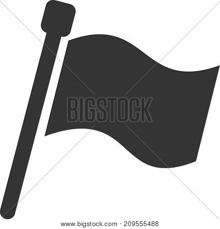 Flag Banner Full - Filled Blank Simple. Sign, Signal Icon Button for Initiate, Start, Begin, Finish, Notice, Location Mark / Marker or Attention Hint Pennant. Pole and Waving Fabric. Use with Racing, Sports, Games, Web Advertisement or Bonus Information