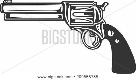 Detailed Gun - Revolver Pistol. Handgun for Personal Safety and Self Defense. Sign, Label or Logo for Social Issues, Controversy, Police, Western, and Military Weapon Supply. Silhouette Vector Illustration