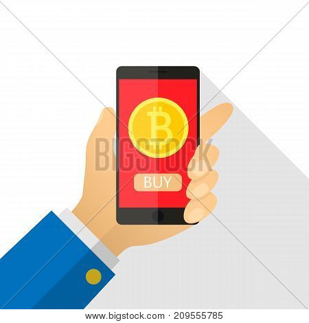 Concept of paying bitcoins in a flat style. Pay per click on virtual crypto currency. Hand smartphone with gold coin, purse. Vector illustration of cartoon for business, web banners, website design.