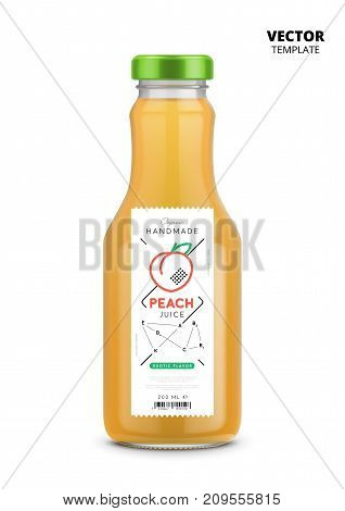 Peach juice realistic glass bottle with label. Healthy organic product, natural vegan nutrition vector packaging mockup. Layout of food identity branding, modern packaging design for fresh fruit juice