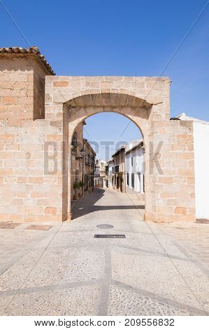 landmark ancient Arch of Benalua from Sixteenth century public monument in village Banos de la Encina Jaen Andalusia Spain Europe