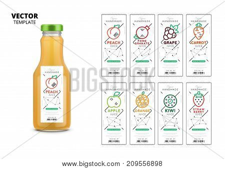 Fresh juice realistic glass bottle with trendy linear style labels. Healthy organic product vector packaging mockup set. Apple, kiwi, pomegranate, orange, grape, carrot, peach and strawberry stickers