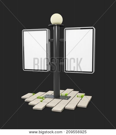 A Blank Outdoor Light Box On The Cobblestone, Isolated On Black, 3D Illustration.