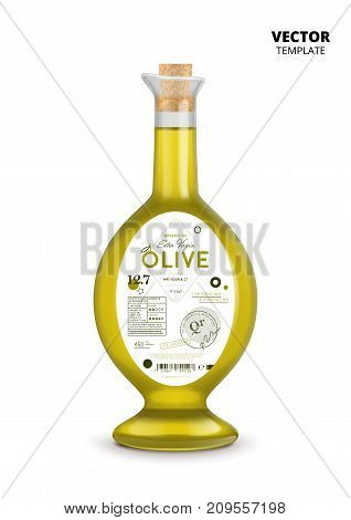 Natural extra virgin olive oil realistic glass bottle with label. Layout of food identity branding, modern packaging design. Traditional healthy product, organic vegan nutrition vector illustration