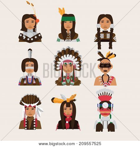 Set with american indian man portraits. Various clothing style - apache navajo cheerokee iroquois