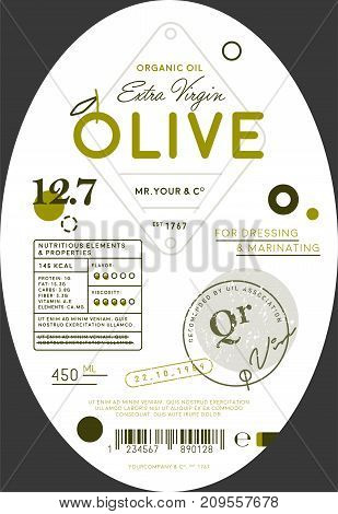Organic olive oil label template. Healthy agriculture product, natural vegetarian nutrition vector illustration. Layout of food identity branding, modern packaging design for extra virgin olive oil.