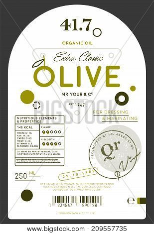 Organic extra virgin olive oil label template. Layout of food identity branding, modern packaging design. Healthy agriculture product, natural vegetarian nutrition vector illustration