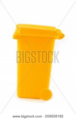 rubbish litter bin yellow  isolated on white
