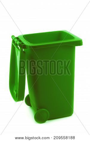 rubbish litter bin green  isolated on white