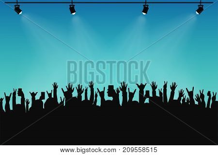 Concert crowd people silhouettes. Hands with different gestures and smartphones in raised hands. Spotlights on stage. Concert event poster and ticket template. Vector