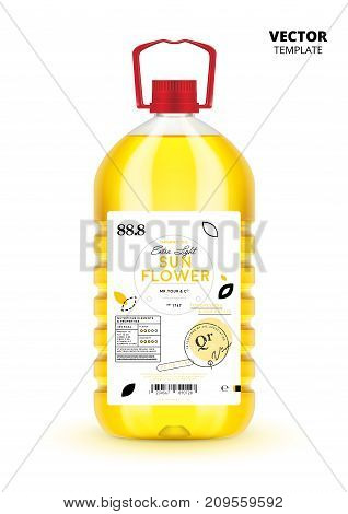 Natural extra virgin sunflower oil realistic plastic bottle with label. Layout of food identity branding, modern packaging design. Traditional healthy product, organic nutrition vector illustration