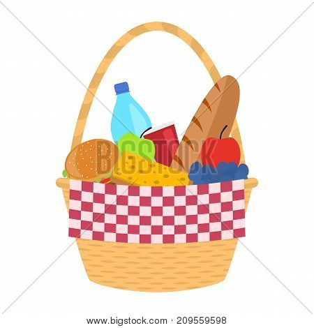 Vector illustration of a wicker picnic basket with a blanket. Isolated white background. Basket with food and drink. Flat style.