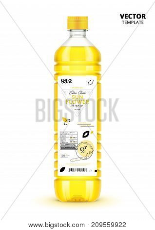 Extra virgin sunflower oil canned plastic bottle with label. Layout of food identity branding, modern packaging design. Healthy organic product, natural vegan nutrition isolated vector illustration