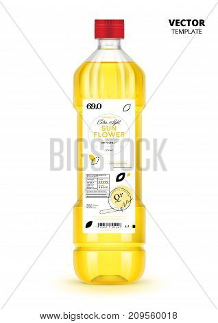 Premium quality extra virgin sunflower oil realistic plastic bottle with label. Layout of food identity branding, modern packaging design. Healthy organic and natural product vector illustration