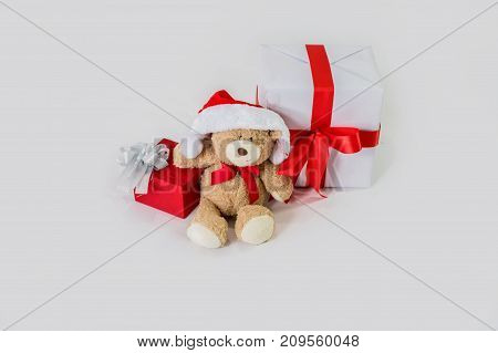 Teddy Bear in Santa Claus Dress on a white background.