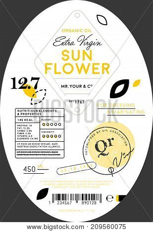 Organic sunflower oil label template. Healthy agriculture product, natural vegetarian nutrition vector illustration. Layout of food identity branding, modern packaging design for extra virgin oil.