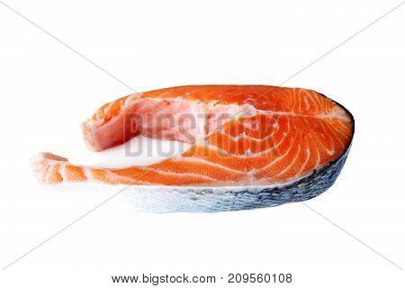 salmon steak close up isolated on white background