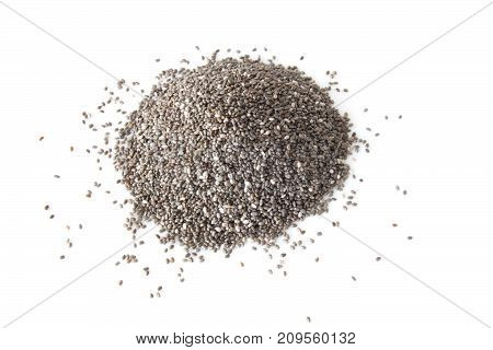 raw chia seeds isolated on white background