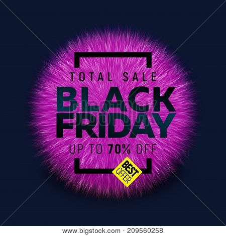 Black friday sale banner with bright round abstract background