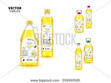 Natural extra virgin sunflower oil realistic plastic bottles with labels isolated on white background. Layout of food identity branding, modern packaging design. Organic product vector illustration