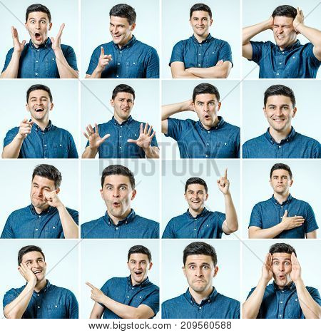 Set Of Young Man's Portraits With Different Emotions And Gestures