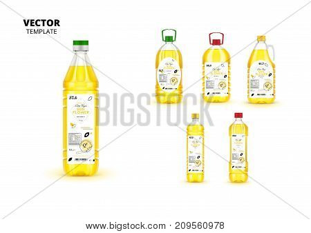 Realistic extra virgin sunflower oil plastic bottles with labels. Layout of food identity branding, modern packaging design. Traditional healthy product, organic vegan nutrition vector illustration