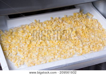 Frozen vegetables in the freezer in a refrigerator