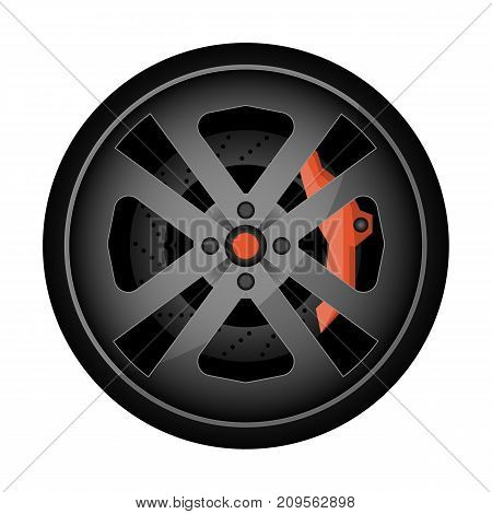 Titanium auto rim icon. Consumables for car, auto service concept, wheel vehicle isolated on white background vector illustration.