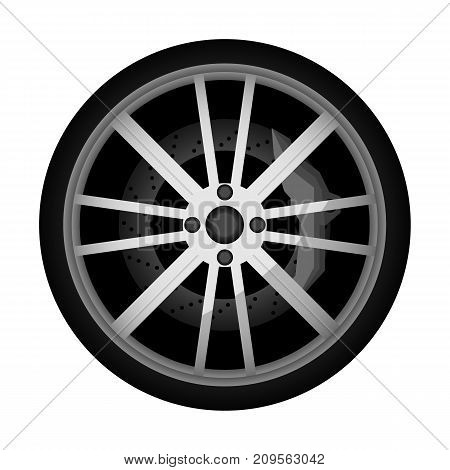 Side view modern car wheel icon. Consumables for car, auto service concept, wheel vehicle isolated on white background vector illustration.