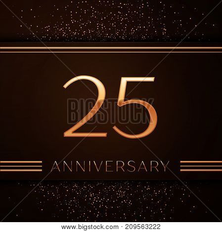 Realistic Twenty five Years Anniversary Celebration Logotype. Golden numbers and golden confetti on brown background. Colorful Vector template elements for your birthday party