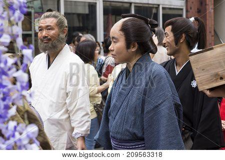 Tokyo, Japan - September 24 2017: Three Man In Edo Costumes At The Parade Of Shinagawa Shukuba Matsu