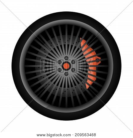 Sport car racing rim icon. Consumables for car, auto service concept, wheel vehicle isolated on white background vector illustration.