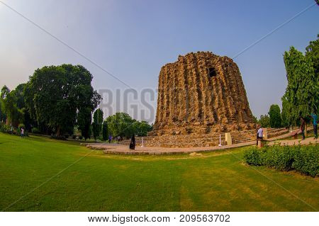 DELHI, INDIA - SEPTEMBER 25 2017: Qutb Minar site and second incomplete tower Alai Minar monument in New Delhi, India.