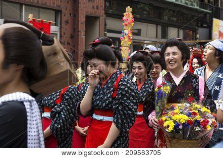 Tokyo, Japan - September 24 2017: Women In Edo Costumes Laughing Shinagawa Shukuba Matsuri Festival