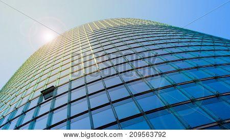 office building facade - skyscraper with glass facade