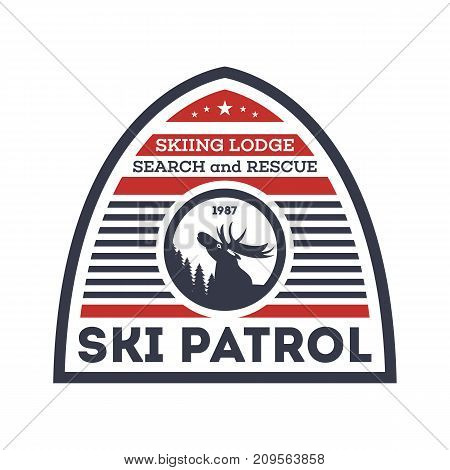 Ski patrol isolated label. Search and rescue badge, adventure outdoor emblem, expedition help vintage vector illustration