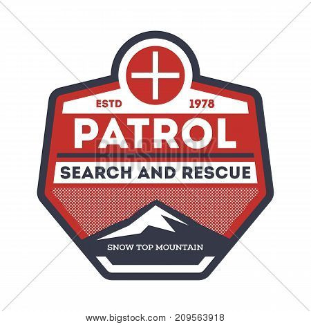 Patrol, search and rescue isolated vintage label. Nature tourism badge, adventure outdoor emblem, expedition help vintage vector illustration