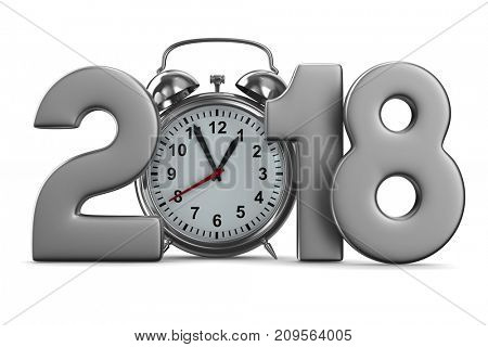 2018 year and alarm clock on white background. Isolated 3D render