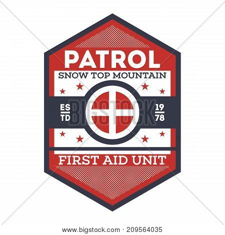 Snow patrol, first aid unit isolated label. Nature tourism badge, adventure outdoor emblem, expedition help vintage vector illustration