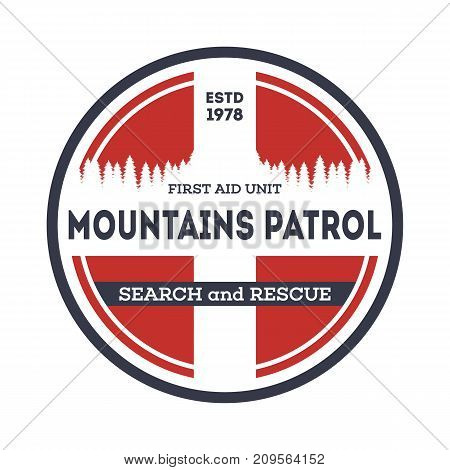 Professional mountains patrol isolated vintage label. Nature tourism badge, adventure outdoor emblem, expedition help vintage vector illustration