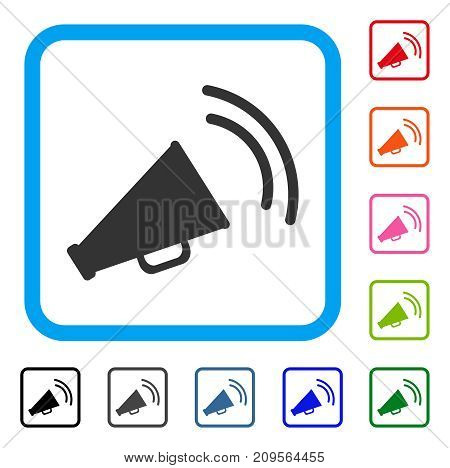 Announce Horn icon. Flat grey pictogram symbol inside a light blue rounded rectangular frame. Black, gray, green, blue, red, orange color versions of Announce Horn vector.