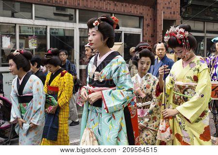 Tokyo, Japan - September 24 2017: Women With Geishas Costumes At Shinagawa Shukuba Matsuri Festival